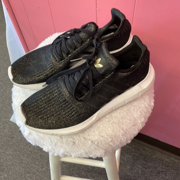 Adidas running shoes  black with golf glitter